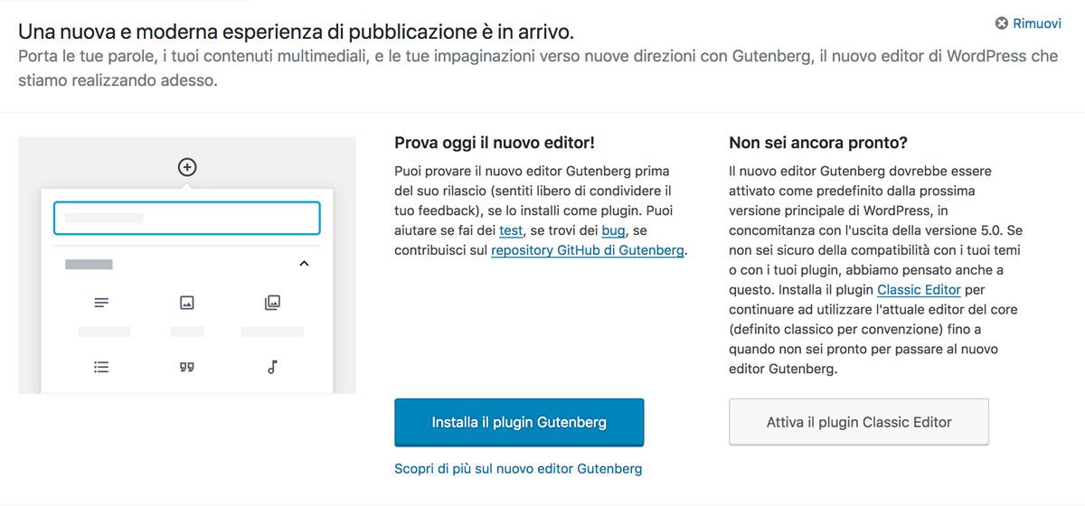 attivare classic editor plugin wordpress